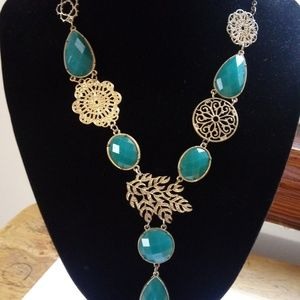 Green And Gold Leaf Statement Necklace